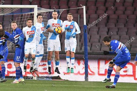 Stock Image of Sampdoria's midfielder Ricky Alvarez catches the ball during the Italian Serie A soccer match between SSC Napoli and UC Sampdoria at San Paolo stadium in Naples, Italy, 07 January 2017.