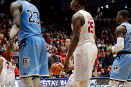 th, Dayton Flyers guard Kyle Davis (3) puts up a free throw shot during NCAA basketball game action between the Rhode Island Rams and the Dayton Flyers at University of Dayton Arena, Dayton, OH. The Dayton Flyers defeated Rhode Island 67-64
