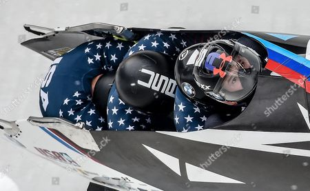 US Bob pilot Steven Holcomb with his pushers Carlo Valdes, James Reed, Samuel MgGuffie in action during the Four-Man competition at the Bobsleigh World Cup event in Altenberg, Germany, 08 January 2017.