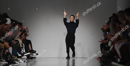 Designer Ximon Lee greets the crowd after his show during the London Men's Fashion Week, in London, Britain 08 January 2017. The Mens collections are presented until 09 January.