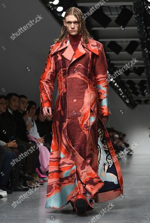 Stock Image of A model presents a creation by Ximon Lee during the London Men's Fashion Week, in London, Britain 08 January 2017. The Mens collections are presented until 09 January.
