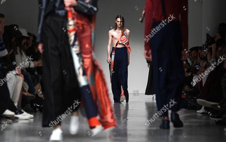 Stock Image of Models present creations by Ximon Lee during the London Men's Fashion Week, in London, Britain 08 January 2017. The Mens collections are presented until 09 January.