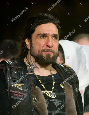 Russian biker group leader of Nochniye Volki (the Night Wolves), Alexander Zaldostanov, also known as Khirurg (the Surgeon) attends the Christmas Mass in the Christ the Savior Cathedral in Moscow, Russia, late . Orthodox Christians celebrate Christmas on Jan. 7, in accordance with the Julian calendar