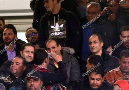 Gamal Mubarak (R) and brother Alaa Mubarak (L), son of Former Egyptian President, Hosni Mubarak during a friendly soccer match as preparation for the 2017 African Cup of Nations between  Egypt and Tunisia at the Cairo Stadium inv Cairo, Egypt, 08 January 2017.