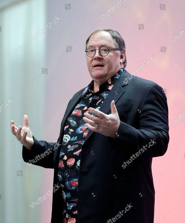 "Pixar Animation Studios Chief Creative Officer John Lasseter is seen during a news conference at the North American International Auto Show, in Detroit before unveiling an aggressive newcomer to Disney Pixar's ""Cars"" series. The new character challenges wily veteran Lightning McQueen. Pixar unveiled new character Jackson Storm and gave away some of the plot for ""Cars 3"" on Sunday"