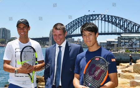 Rafael Nadal, Kei Nishikori and Mike Baird