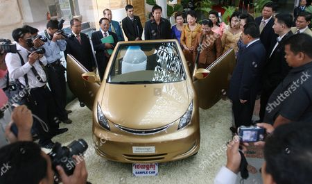 Cambodians Look Angkor Car Model 333 During Editorial Stock Photo