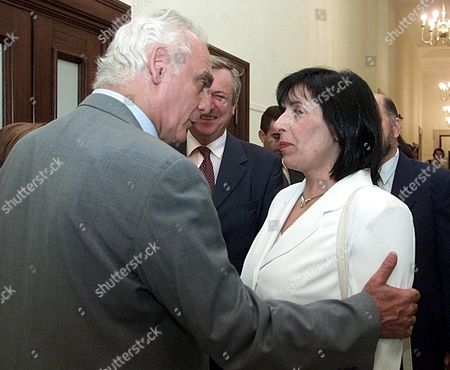 Athens Greece: Greek Minister of Defence Akis Tsochatzopoulos Greets the Macedonian Foreign Minister Ilinka Mitreva (r) While Meeting Her in the Greek Parliament in Athens Thursday 23 August 2001