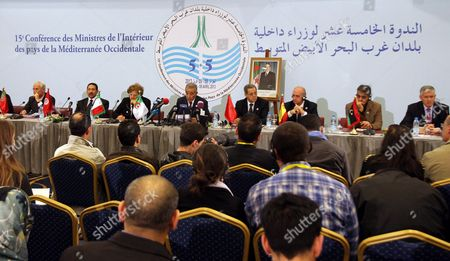 (l-r) Interior Ministers of Portugal Miguel Macedo Tunisia Lotfi Ben Jeddou Italy Anna Maria Cancellieri Algeria Daho Ould Kabila Morocco Mohand Laenser Spain Jorge Fernandez and Libya Ashour Shuwail Are Seen During the 15th Meeting of Interior Ministers of the Western Mediterranean Countries (cimo) in Algiers Algeria 09 April 2013 the Meeting Groups Interior Ministers From 10 Countries on Both Sides of the Mediterranean Algeria Algiers