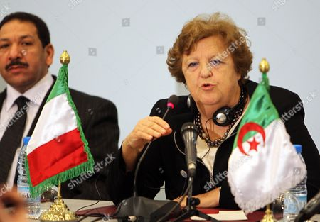Italian Minister of Interior Anna Maria Cancellieri (r) Speaks During the 15th Meeting of Interior Ministers of the Western Mediterranean Countries (cimo) in Algiers Algeria 09 April 2013 the Meeting Groups Interior Ministers From 10 Countries on Both Sides of the Mediterranean Algeria Algiers