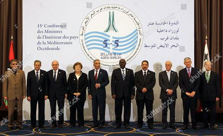 Interior Ministers of the Western Mediterranean Countries (cimo) Pose For a Group Photo During Their 15th Meeting in Algiers Algeria 09 April 2013 Posing For the Photo Are (l-r) Interior Ministers of Libya Ashour Shuwail Morocco Mohand Laenser Spain Jorge Fernandez Italy Anna Maria Cancellieri Algeria Daho Ould Kabila Mauritania Mohamed Ould Boilil Tunisia Lotfi Ben Jeddou Portugal Miguel Macedo the Meeting Groups Interior Ministers From 10 Countries on Both Sides of the Mediterranean Algeria Algiers