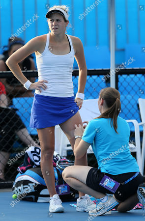 Jana Cepelova of Slovakia Receives Treatment During Her 1st Round Match Agains Greta Arn of Hungary at the Australian Open Grand Slam Tennis Tournament in Melbourne Australia 15 January 2013 Australia Melbourne