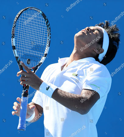 Somdev Devvarman of India Reacts During His 1st Round Match Against Bjoern Phau of Germany at the Australian Open Grand Slam Tennis Tournament in Melbourne Australia 14 January 2013 Australia Melbourne