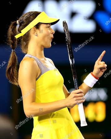Ana Ivanovic of Serbia Reacts During Her 1st Round Match Against Melinda Czink of Hungary at the Australian Open Grand Slam Tennis Tournament in Melbourne Australia 14 January 2013 Ivanovic Won in Two Sets Australia Melbourne