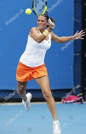 Roberta Vinci of Italy Hits a Forehand During Her 2nd Round Match Against Akgul Amanmuradova of Uzbekistan at the Australian Open Grand Slam Tennis Tournament in Melbourne Australia 17 January 2013 Australia Melbourne