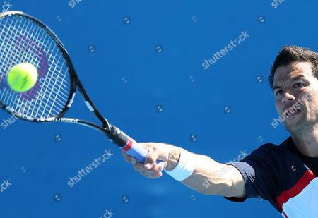 Bjoern Phau of Germany Returns to Somdev Devvarman of India in Their 1st Round Match at the Australian Open Grand Slam Tennis Tournament in Melbourne Australia 14 January 2013 Australia Melbourne