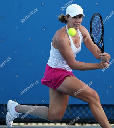 Stock Picture of Greta Arn of Hungary Hits a Backhand During Her 1st Round Match Agains Jana Cepelova of Slovakia at the Australian Open Grand Slam Tennis Tournament in Melbourne Australia 15 January 2013 Australia Melbourne