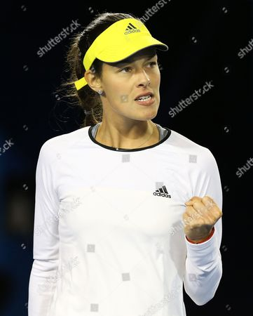 Ana Ivanovic of Serbia Pumps Fist During Her 1st Round Match Against Melinda Czink of Hungary at the Australian Open Grand Slam Tennis Tournament in Melbourne Australia 14 January 2013 Australia Melbourne