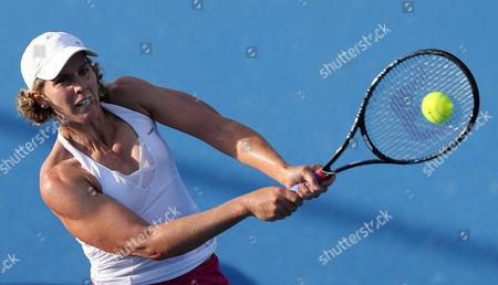 Greta Arn of Hungary Hits a Backhand During Her 1st Round Match Agains Jana Cepelova of Slovakia at the Australian Open Grand Slam Tennis Tournament in Melbourne Australia 15 January 2013 Australia Melbourne