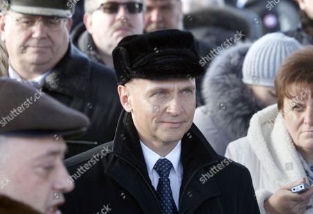 Chief Executive Official of Rosatom State Atomic Energy Corporation Sergei Kiriyenko (c) is Seen at the Construction Site of the Belarusian Nuclear Power Plant Near the Town of Ostrovets Some 180 Km From Minsk Belarus 01 February 2013 Belarus Ostrovets