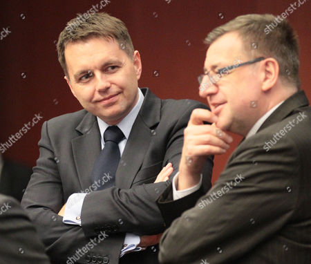 Stock Photo of Slovakian Finance Minister Peter Kazimir and Belgian Finance Minister Steven Vanackere (r) During the Eurogruop Finance Ministers Meeting at the Eu Council Headquaters in Brussels Belgium 04 March 2013 Belgium Brussels