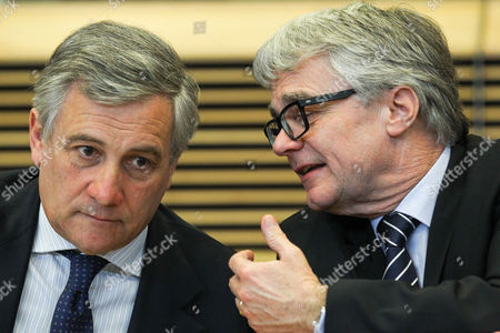 Stock Image of Italian Antonio Tajani the Eu's Industry and Entrepreneurship Commissioner (l) and the President of Industry Body Eurofer Wolfgang Eder (r) During a Press Conference After a Meeting Between European Countries Producing Steel Trade Unions and Representatives of the European Steel Industry at the European Commission Headquarters in Brussels Belgium 12 February 2013 the High-level Roundtable on Steel Has Today Adopted Recommendations to Help Create the Right Framework For the European Steel Sector to Maintain Its Long-term Competitiveness in an Increasingly Global Context Belgium Brussels