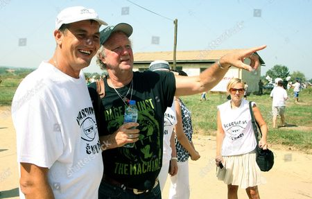 Fikret Alic (l) a Former Prisoner of the Concentration Camps in the Omarska Keretern Iand Trnopolje Near Town Prijedor with English Journalist Ed Vulliamy (r) During the 20th Anniversary of the Closing of the Camps at Omarska 6 August 2012th Ed's was the First Journalist who Published Images of the Existence of Camps in the North - West Bosnia and Herzegovina During the War in Bosnia 1992-95 Bosnia and Hercegovina Omarska