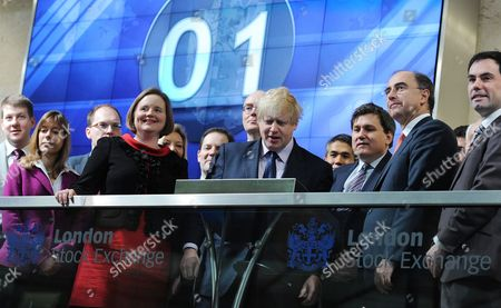 London Mayor Boris Johnson (c) with London Stock Exchange Chief Executive Xavier Rolet (2-r) During the Opening of Trading at the London Stock Exchange in London Britain 12 February 2013 the Mayor of London was at the Opening of Trading Day in a Bid to Encourage More Science and Technology Companies to List in the Capital United Kingdom London