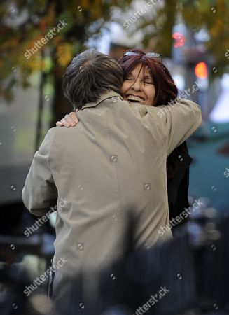 British Computer Hacker Gary Mckinnon's Mother Janis Sharp (r) Hugs a Freind Prior to a Press Conference in London Britain 16 October 2012 British Home Secretary Theresa May Announced on 16 October 2012 That Mckinnon Will not Be Extradited to the United States After His 10-year Battle Against Being Sent to the United States to Stand Trial For Allegedly Accessing Us Government Computers United Kingdom London