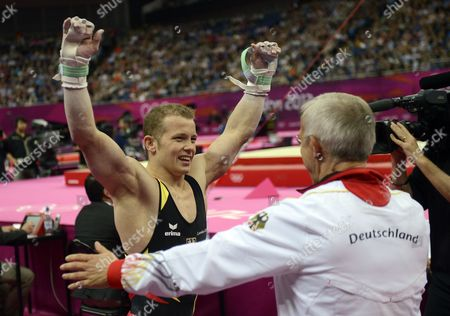 Fabian Hambuchen of Germany Celebrates After Winning the Silver Medal in the Men's Horizontal Bar at the London 2012 Olympic Games Artistic Gymnastics Competition London Britain 07 August 2012 United Kingdom London