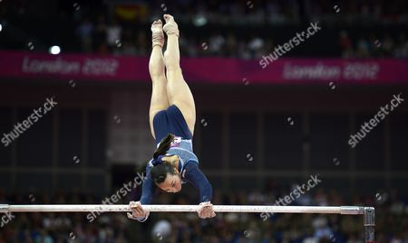 Stock Photo of Britain's Elizabeth Tweddle in Action to Place Third in the Women's Uneven Bars Final During the London 2012 Olympic Games Artistic Gymnastics Competition London Britain 06 August 2012 United Kingdom London