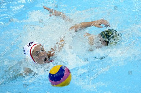 Lauren Wenger Form the Usa (l) Competes For the Ball with Australia's Nicola Zagame During a Women's Olympic Water Polo Semi-final Match at the Water Polo Arena Inside the Olympic Park in London During the London 2012 Olympic Games London Britain 07 August 2012 United Kingdom London