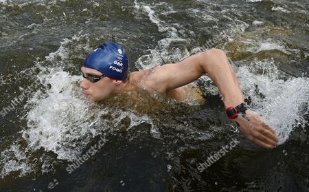 Britain's Daniel Fogg Swims During the Men's 10 Km Marathon Open Water Swimming Event at Hyde Park's Serpentine Lake During the London 2012 Olympic Games in London Britain 10 August 2012 United Kingdom London