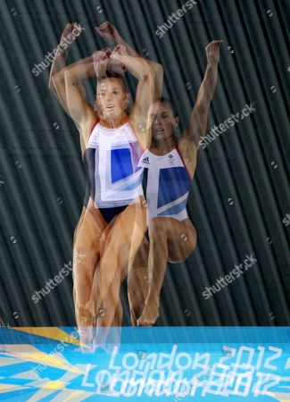 A Multiple Exposure Image of Monique Gladding of Britain Competing in the Women's 10m Platform Preliminary Diving Event at the Aquatics Center During the London 2012 Olympic Games London Britain 08 August 2012 United Kingdom London