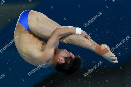 Qiu Bo of China Competes in the Men's 10m Platform Final Diving Competition at the Aquatics Center During the London 2012 Olympic Games London Britain 11 August 2012 United Kingdom London