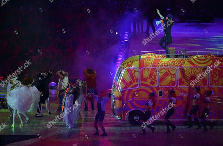 Russel Brand Performs During the Closing Ceremony of the London 2012 Olympic Games London Britain 12 August 2012 United Kingdom London