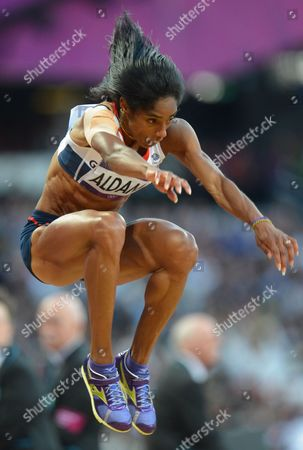 Stock Photo of Yamile Aldama of Great Britain Competes in the Women's Triple Jump Final During the London 2012 Olympic Games Athletics Track and Field Events at the Olympic Stadium London Britain 05 August 2012 United Kingdom London