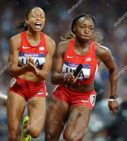 (from Left) Allyson Felix (l) Hands Over to Us Teammate Bianca Knight During the Women's 4x100m Relay at the Olympic Stadium London Britain 10 August 2012 the Us Team Won the Relay United Kingdom London