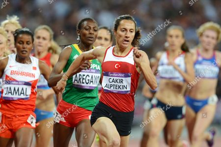 Asli Cakir Alptekin of Turke Leads the Pack on Her Way Winning the Women's 1500m Final at the London 2012 Olympic Games Athletics Track and Field Events at the Olympic Stadium London Britain 10 August 2012 United Kingdom London