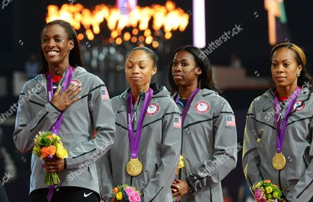 (from Left) Usa's Deedee Trotter Allyson Felix Francena Mccorory and Sanya Richards-ross on the Podium Winning Gold in the Women's 4 X 400m Relay Final During the London 2012 Olympic Games Athletics Track and Field Events at the Olympic Stadium London Britain 11 August 2012 United Kingdom London