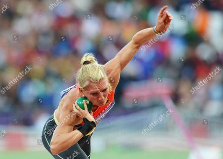 Lilli Schwarzkopf of Germany Competes in the Shot Put in the Heptathlon Competition on the First Day of the London 2012 Olympic Games Athletics Track and Field Events at the Olympic Stadium London Britain 03 August 2012 United Kingdom London