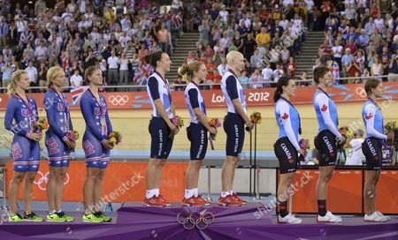 Dani King Laura Trott and Joanna Rowsell of Great Britain (c) Sarah Hammer Dotsie Bauch and Jenie Reed of the Us (l) and Tara Whitten Gilian Carleton and Jasmin Glaesser of Canada Celebrate on the Podium After the Women's Team Pursuit Final at the London 2012 Olympic Games Track Cycling Competition London Britain 04 August 2012 United Kingdom London