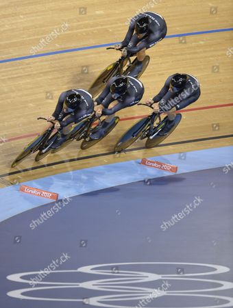 Stock Photo of Sam Bewley and Aaron Gate Jesse Sergent and Marc Ryan of New Zealand Compete During the Men's Team Pursuit Race For Bronze at the London 2012 Olympic Games Track Cycling Competition London Britain 03 August 2012 United Kingdom London
