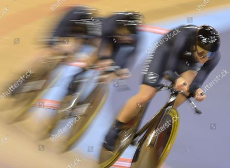 Stock Image of Lauren Ellis Jaime Nielsen and Alison Shanks of New Zealand Compete During the Women's Team Pursuit First Round at the London 2012 Olympic Games Track Cycling Competition London Britain 04 August 2012 United Kingdom London