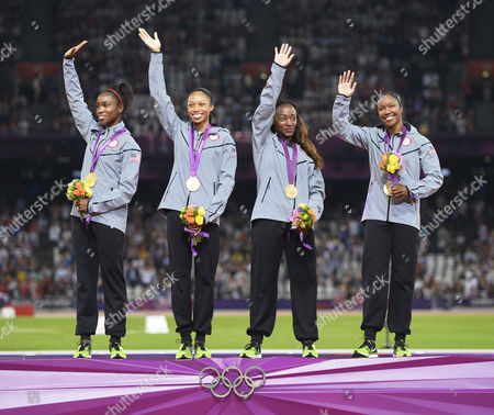 Tianna Madison Allyson Felix Bianca Knight and Carmelita Jeter with Their Gold Medals After Winning the Women's 4 X 100m Relay Final at the London 2012 Olympic Games Athletics Track and Field Events at the Olympic Stadium London Britain United Kingdom London