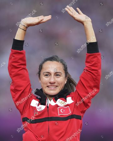 Stock Photo of Gold Medalist Asli Cakir Alptekin of Turkey During the Medal Ceremony For the Women's 1500m at the London 2012 Olympic Games Athletics Track and Field Events at the Olympic Stadium London Britain 11 August 2012 United Kingdom London
