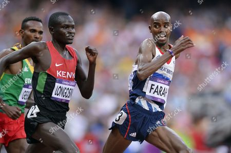 Britain's Mohamed Farah (r) Breaks Away From Kenyan Thomas Pkemei Longosiwa (c) and Ethiopian Dejen Gebremeskel (l) on His Way Winning the Men's 5000m Final at the London 2012 Olympic Games Athletics Track and Field Events at the Olympic Stadium London Britain 11 August 2012 United Kingdom London