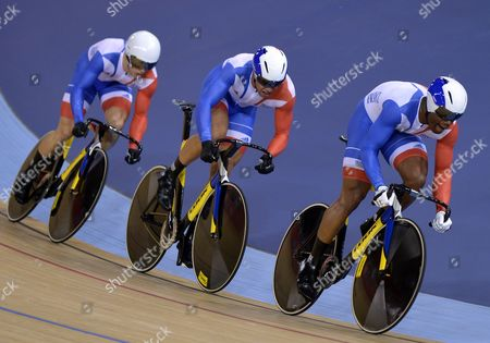 Gregory Bauge Kevin Sireau and Michael D'almeida of France Compete in the Men's Team Sprint Qualification During the London 2012 Olympic Games Track Cycling Competition London Britain 02 August 2012 United Kingdom London