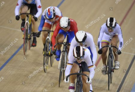 Clara Sanchez of France Monique Sullivan of Canada Juliana Gaviria Rendon of Columbia Lisandra Guerra Rodriguez of Cuba Kristina Vogel of Germany Ekaterina Gnidenko of Russia During the Women's Keirin First Round Race For the London 2012 Olympic Games Track Cycling Competition London Britain 03 August 2012 United Kingdom London