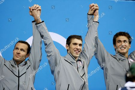 Usa (l-r: Brendan Hansen Michael Phelps Nathan Adrian) Team with the Gold Medal During the Medal Ceremony of the Men's 4 X 100m Medley Relay at the London 2012 Olympic Games Swimming Competition London Britain 04 August 2012 United Kingdom London